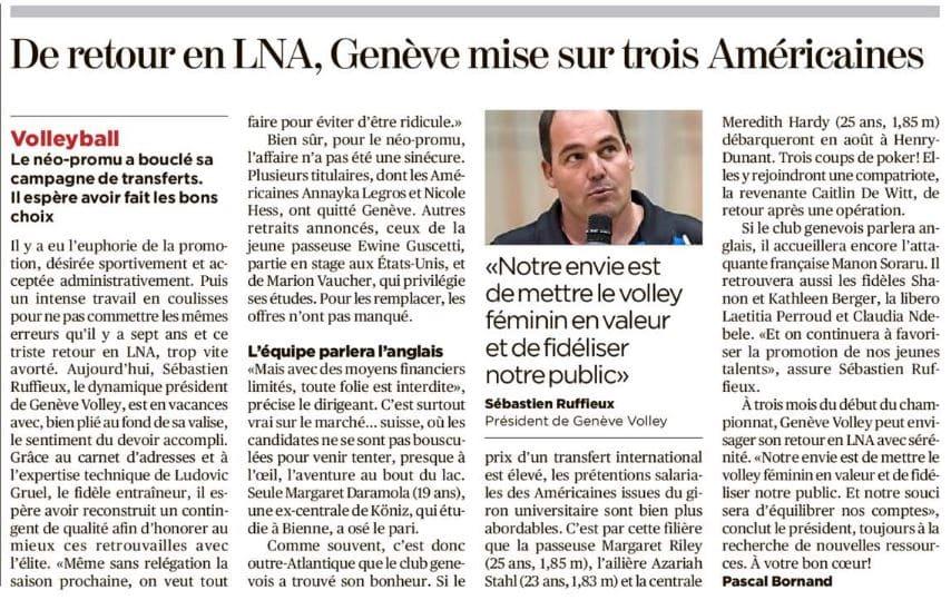 L'avenir du club vu par la Tribune de Genève !